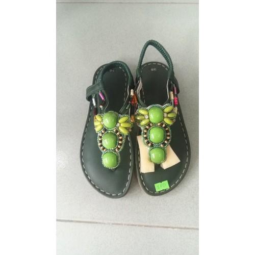 Sandal thổ cẩm màu rêu