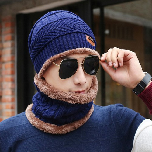 Mũ len tặng kèm khăn quàng cổ cho nam nữ