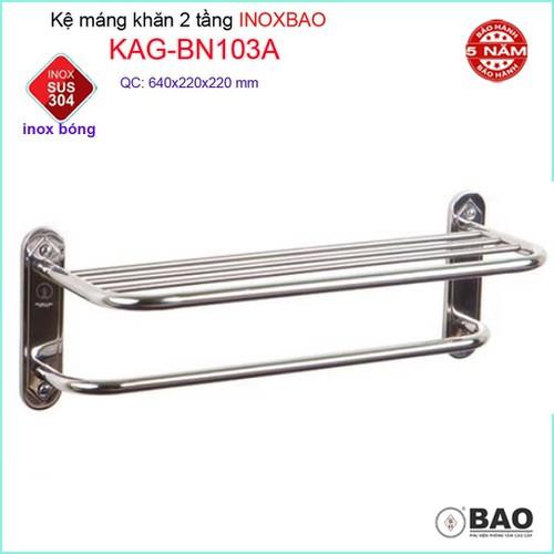 Kệ máng khăn dài Inox Bảo, thanh treo khăn 2 tầng Inox 304 KAG-BN103A