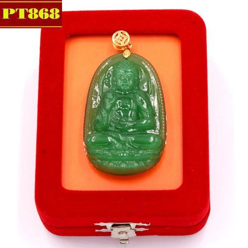 Mặt dây chuyền Phật A Di Đà xanh 5 cm kèm hộp nhung