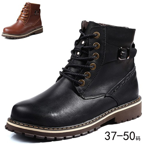 Boots combat,Boots bông nam, da bò, lót bông, size lớn, thời trang