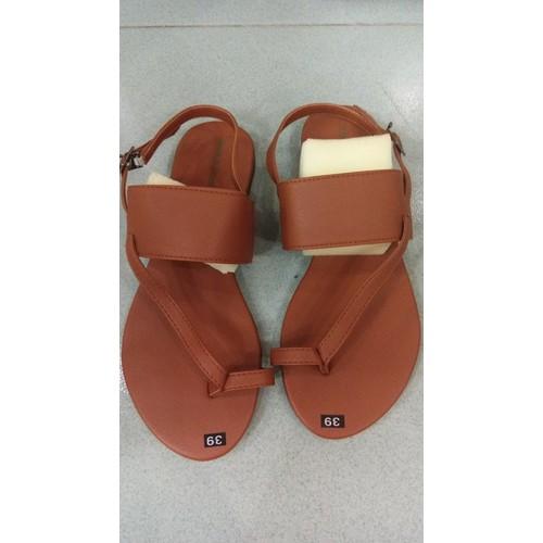 Sandal xỏ ngón nữ nâu bò