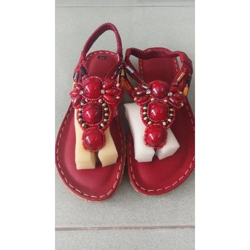 Sandal thổ cẩm màu đỏ