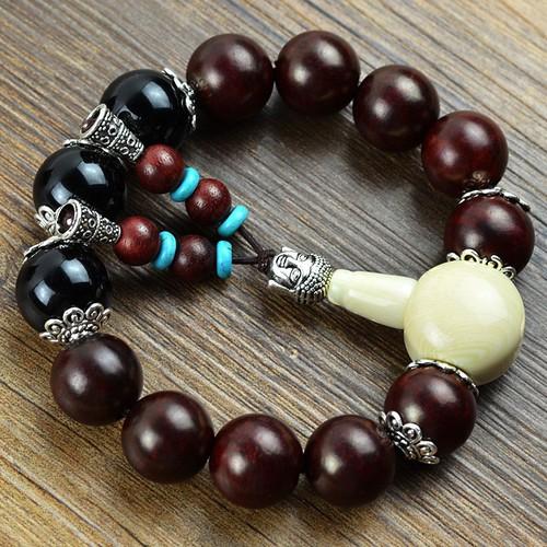 Red Rosewood Bracelet Tự Nhiên Mã Não Đen Tây Tạng Bracelet 1.2-1.5 cm