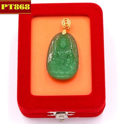 Mặt dây chuyền Phật Văn Thù Bồ Tát thạch anh xanh 5 cm kèm hộp nhung