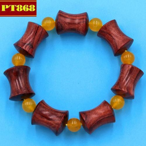 Vòng tay chuỗi hạt gỗ hồng hình ống tre HMB1
