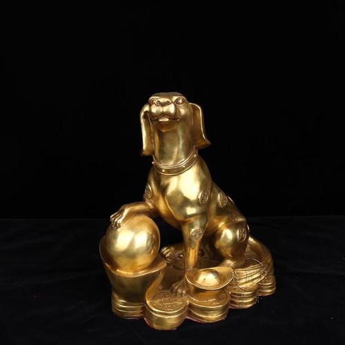 Tượng con chó tuất bằng đồng thau cỡ tiểu