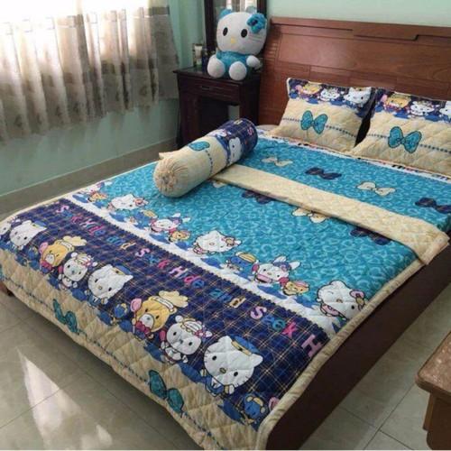 Bộ Chăn Drap Cotton Poly Bộ 3 Mèo , Thỏ , Gấu Xanh 1m6-2m