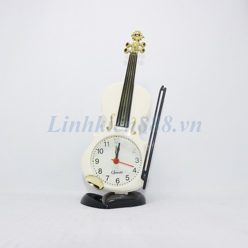 Đồng hồ báo thức hình cây đàn màu trắng loại nhỏ