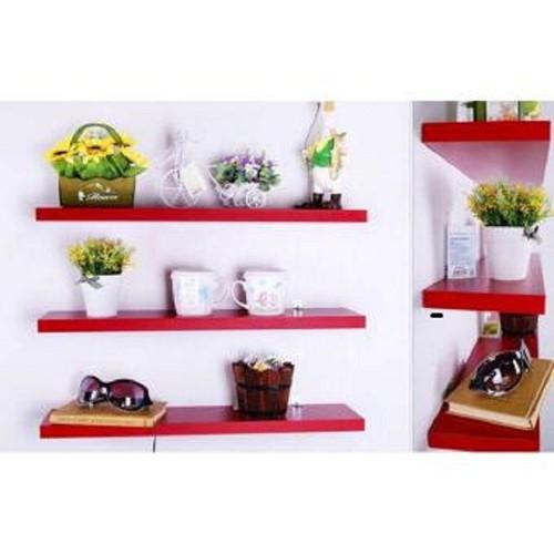 Kệ treo tường - giá treo tường - kệ để đồ 3 thanh đỏ 50cm