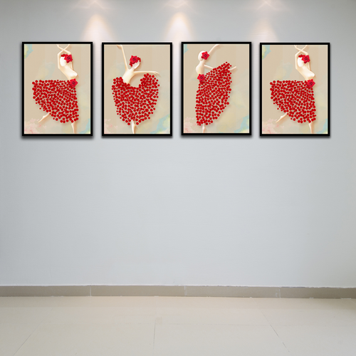 4 tranh canvas cô gái kèm khung viền - Khung hình Phạm Gia PGTK259V