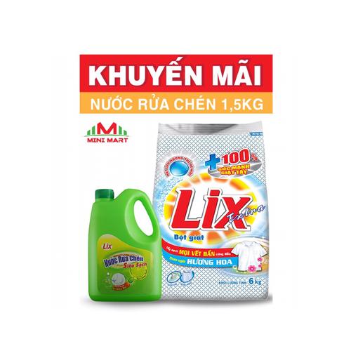 Bột giặt Lix Extra hương Hoa 6kg tặng kèm NRC 1,5lít - 4425129 , 11748175 , 15_11748175 , 135000 , Bot-giat-Lix-Extra-huong-Hoa-6kg-tang-kem-NRC-15lit-15_11748175 , sendo.vn , Bột giặt Lix Extra hương Hoa 6kg tặng kèm NRC 1,5lít