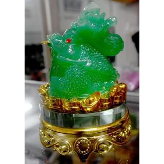 Tượng Cóc Ba Chân-Thiềm Thừ chiêu tài lộc xanh cõng bắp cải có đế 16cm - 75675733 thumbnail