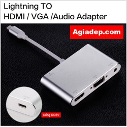 Cáp Lightning to HDMI VGA Audio - Bản to, Bền, Tốt của Agiadep