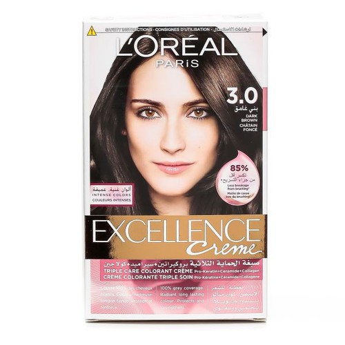 Màu Nhuộm LOreal Paris Excellence Crème 172ml - 3.0 - Tặng kèm 1 cây son L