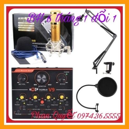 Combo thu âm livestream míc AMI bm900 card V9 chân màng lọc
