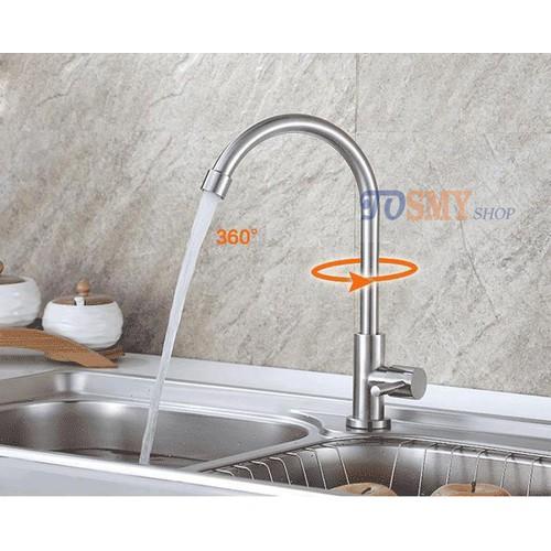 Vòi rửa chén, bát lạnh cần cứng tròn Inox 304 CLI01-2 phi 24