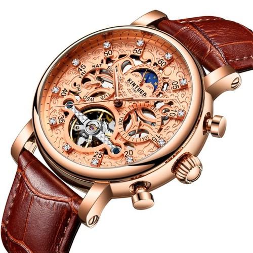 Đồng hồ nam Kinyued 026 dây da cao cấp chạy full kim phong cách thời thượng