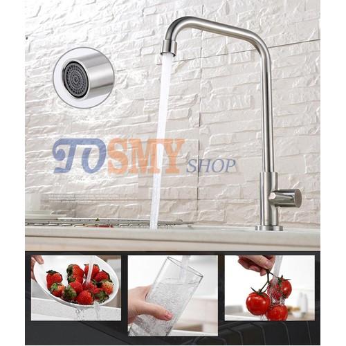 Vòi rửa chén, bát lạnh cần cứng số 7 phi 24  Inox 304 CLI01-1