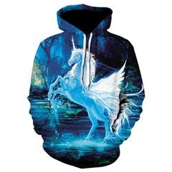 Áo hoodie nam , Áo Khoác Nỉ Hoodie Nam 3D Bạch Mã Hót Nhất 2018