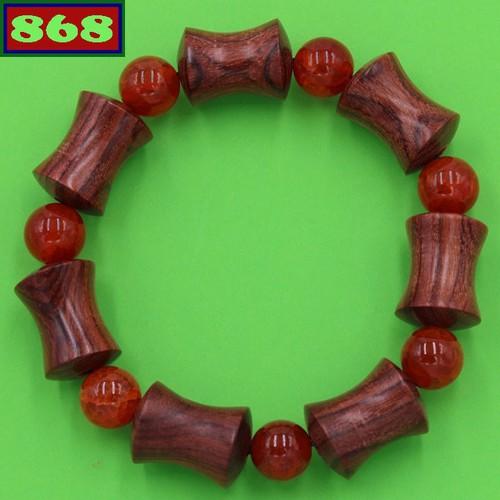 Chuỗi tay hồng mộc hình ống tre HMB4
