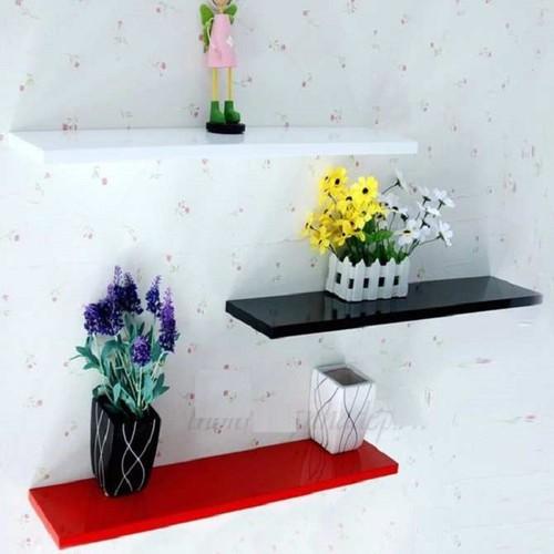 Kệ treo tường 3 thanh ngang đỏ đen trắng dài 50, 60, 80cm sâu 13cm