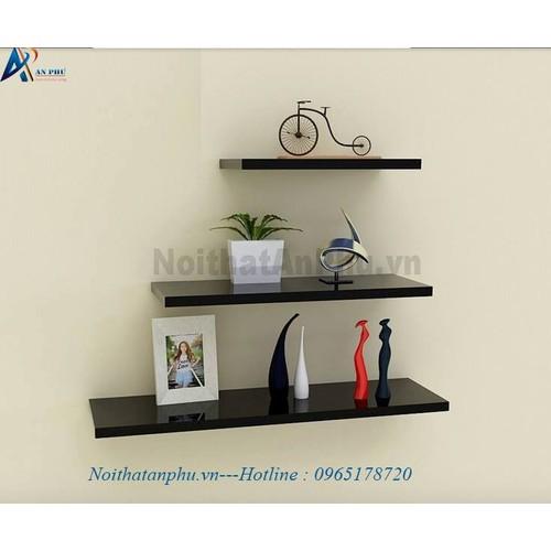 Kệ gỗ trang trí 3 thanh ngang đen dài 40, 60, 80cm sâu 13cm