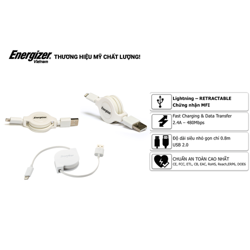 Cáp rút Lightning Energizer 80cm màu trắng - C31UBLIREWH4