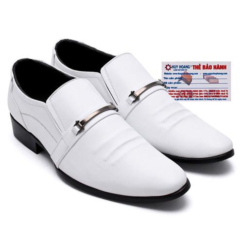 Giày nam Huy Hoàng da bò màu trắng HS7135