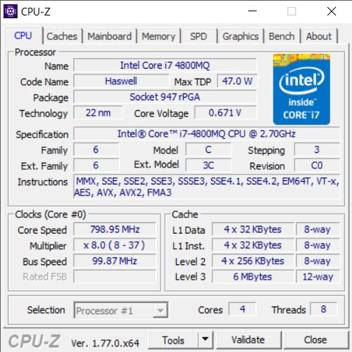CPU Laptop I7-4800MQ SR15L Gen 4 4 Nhân 8 Luồng Tháo Máy