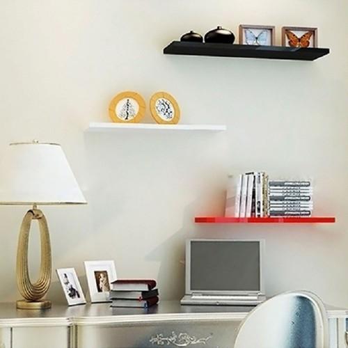 Kệ gỗ trang trí 3 thanh ngang đỏ đen trắng dài 40, 60, 80cm sâu 13cm