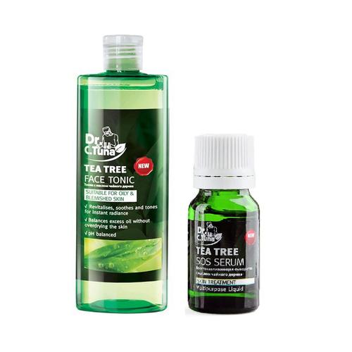 Combo Nước hoa hồng và serum trị mụn Farmasi Tea Tree oil