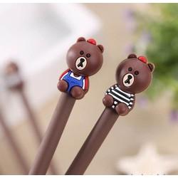 Cặp đôi bút xinh Gấu Brown mặc áo - Viết cute