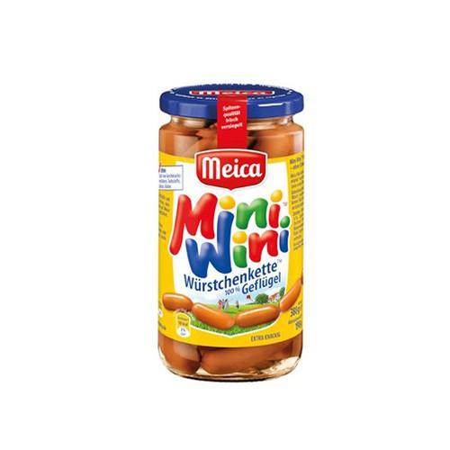 Xúc xích Đức Mini 100 thịt gia cầm hiệu Meica – lọ 380g