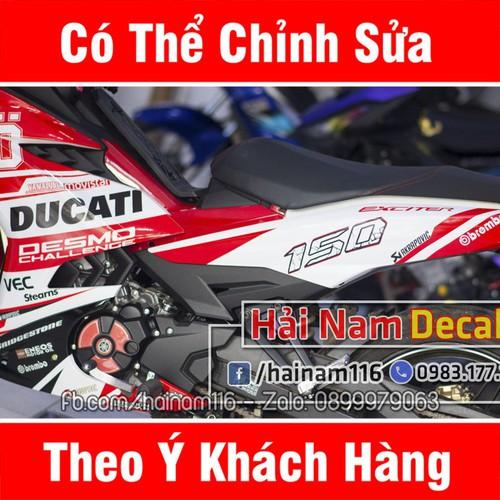 Tem Trùm Exciter 150  Trắng Đỏ Ducati