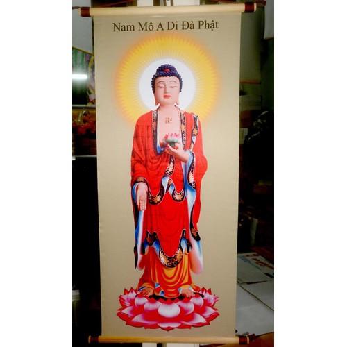 Tranh Phật A Di Đà áo đỏ khổ 40x80cm-Tranh vải lụa không phai màu
