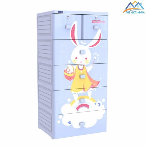 Tủ Nhựa Duy Tân Mina 5 Tầng 6 Ngăn xanh dương thỏ mây