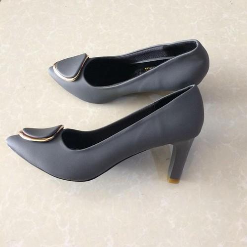 Giày cao gót xám Trường Hải 7cm TH056
