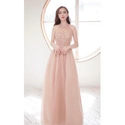 Đầm maxi cổ yếm đính hoa 4D