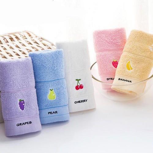 Set 5 khăn mặt cotton hoa quả mềm mịn I Khăn mặt gia đình