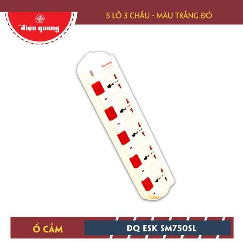 Ổ Cắm Điện Quang ĐQ ESK 5W.SM750SL 5 Lỗ 3 Chấu Dây 5m  Màu Trắng Đỏ