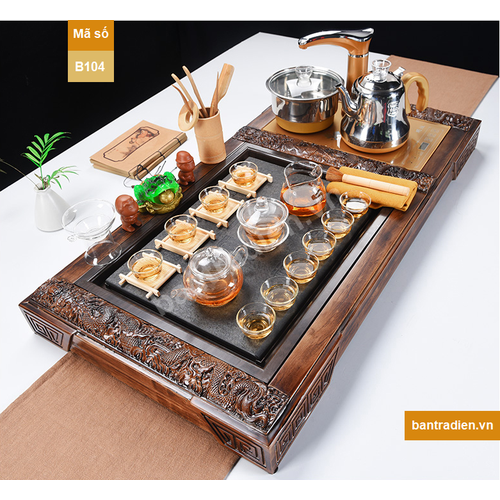 Bộ bàn trà điện thông minh bằng gỗ mặt đá B104