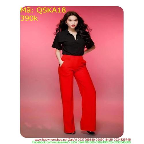 Quần kaki nữ ống suông dài dự tiệc màu đỏ sang trọng QSKA18