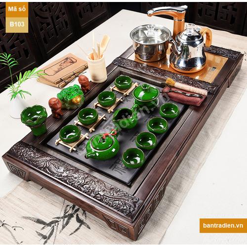 Bàn trà điện thông minh bằng gỗ mặt đá B103