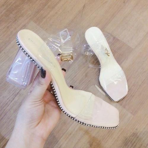 Giày sandal cao gót quai trong gót trong viền bi