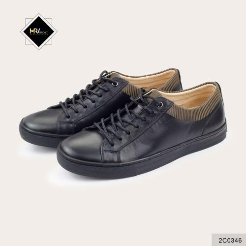 Giày sneaker nam đen cổ sọc vàng da thật LVTN 2C0346