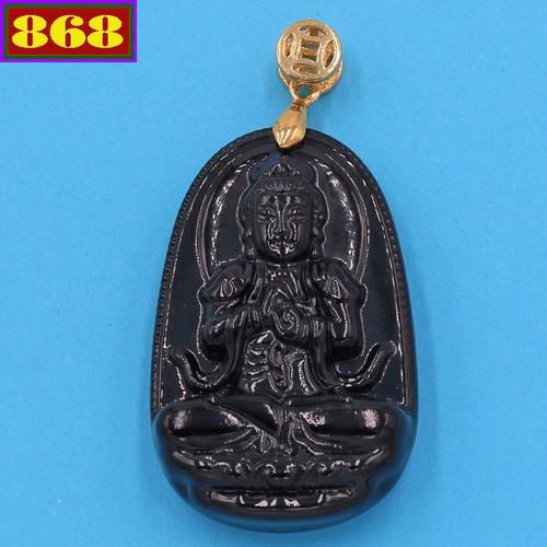 Mặt Phật Như lai Đại nhật thạch anh đen 3.6 cm