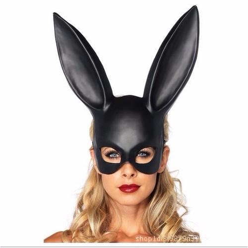 Mặt nạ hóa trang Halloween Black Bunny thỏ đen nửa mặt