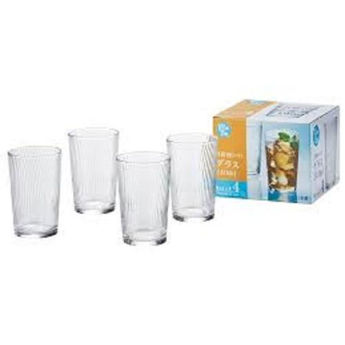 Set 4 cốc thủy tinh 240ml họa tiết vân dọc
