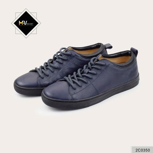 Giày nam thời trang có dây buộc da thật xanh tím than LVTN 2C0350
